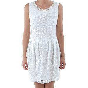 Orient Flower Beyaz Dantel Boncuk İşlemeli Elbise