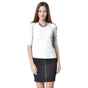 Orient Flower Beyaz Omuz Vatkalı Bluz