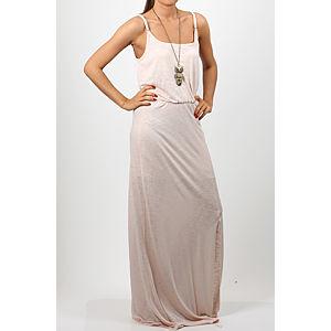 Orient Flower Flamlı Yırtmaçlı Somon Rengi Elbise