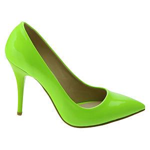 Pumps Up Neon Yeşil Pump Deri Stiletto