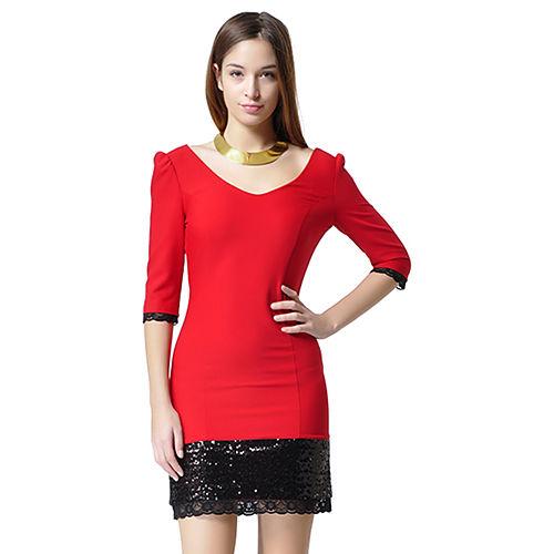 Shiera Eteği Payet Detaylı Dantel Şeritli Elbise