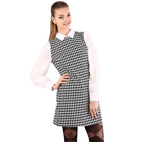 Shiera Kazayağı Desenli Gömlek Elbise