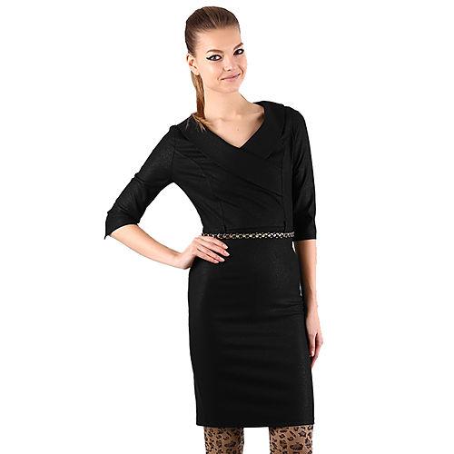 Shiera Kruvaze Yakalı Kemerli Siyah Elbise