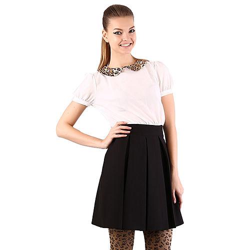Shiera Leopar Yakalı Pile Detaylı Elbise