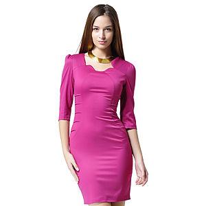 Shiera Nervür Tarzı Fuşya Elbise