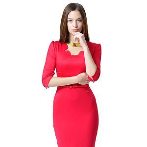 Shiera Nervür Tarzı Kemerli Nar Çiçeği Elbise