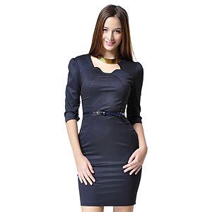 Shiera Nervür Tarzı Lacivert Kemerli Elbise