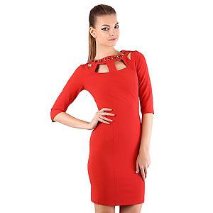 Shiera Yakası Pencere Detaylı İşlemeli Elbise
