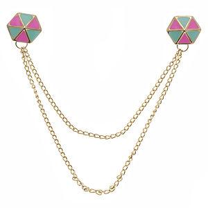 sillydress İki Yaka Bağlayan Renkli Broş