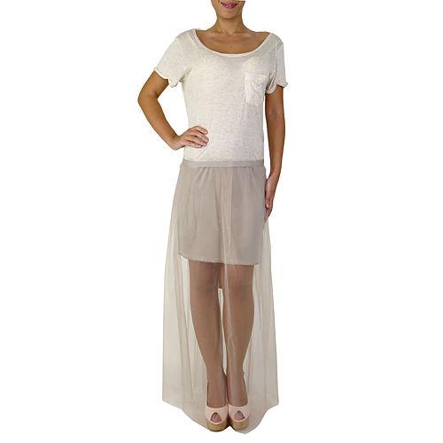 Sorcha Bej Lila Şifon Etekli Elbise