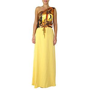 Sorcha Sarı Desenli Uzun Elbise