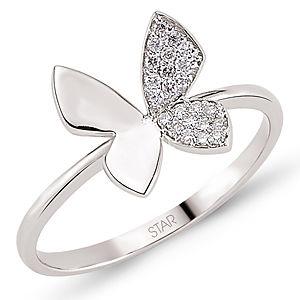 Star Pırlanta 14 Ayar Beyaz  Altın Pırlantalı Kelebek Yüzük