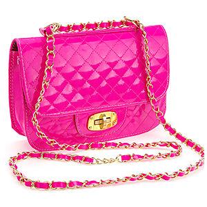 Sugar Bag Pembe Renkli Zincir Omuz Askılı Rugan Çanta