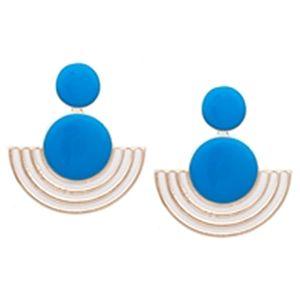 Modapik Mavi Oval Küpe