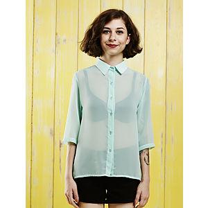 Mükü Sırtı Dantelli Mint Gömlek