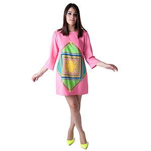 Nisa Kalo Mina Pembe Elbise Önü Üçgen Tablo Desenli