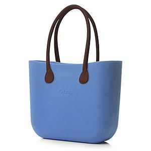 O Bag Bebek Mavisi Kahverengi Uzun Eco Deri Saplı Set