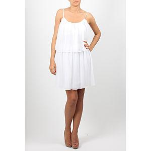 Orient Flower Beyaz Kat Kat Şifon Elbise