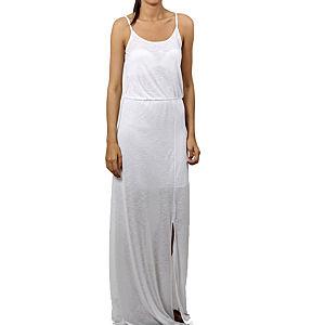 Orient Flower Flamlı Yırtmaçlı Beyaz Elbise