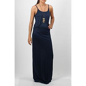 Orient Flower Flamlı Yırtmaçlı Lacivert Elbise
