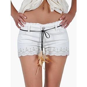 Orient Flower İşlemeli Püsküllü Beyaz Şort