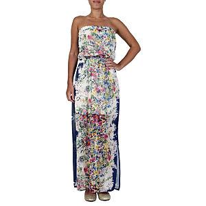 Orient Flower Lacivert Çiçekli Pano Elbise