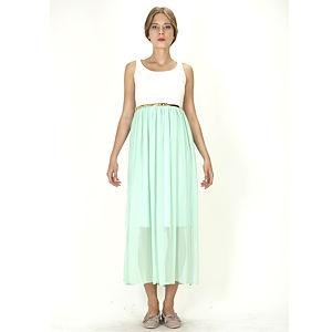 Orient Flower Mint Yeşili Dantelli Uzun Elbise