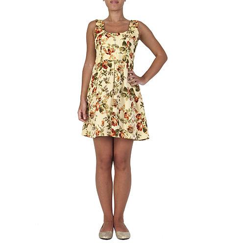 Orient Flower Sırtı Düğmeli Pembe Keten Elbise