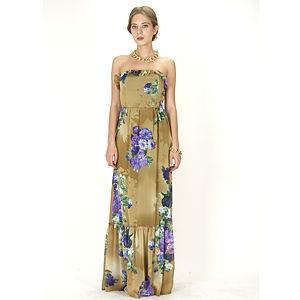 Orient Flower Yeşil Blossom Elbise