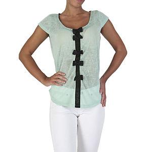 Orient Flower Yeşil Triko Arkası Kurdele Detaylı Bluz