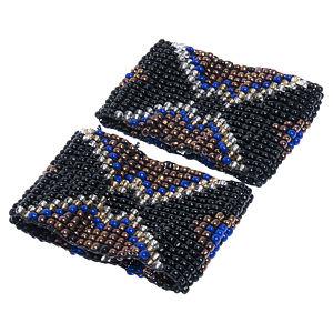 Parlaque Siyah Mavi Renklerden Desen İşlenmeli Boncuk Bileklik