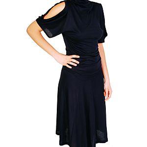 Pembe Askı Lacivert Uzun Sırt Dekolteli Elbise