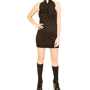 Pembe Askı Siyah Üstü Fırfırlı Kısa Elbise