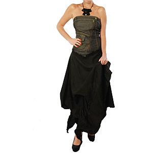 Pembe Askı Siyah Uzun Abiye Elbise