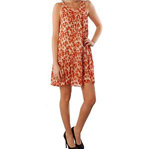 Pembe Askı Turuncu Çiçek Desenli Tül Elbise