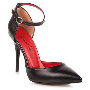 Pumps Up Lipstick Siyah Deri Bantlı Stiletto Ayakkabı
