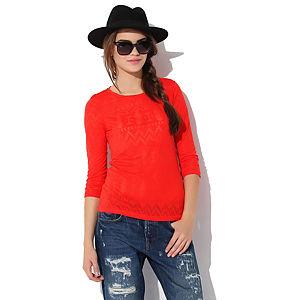 Jove Nili Devore T-Shirt Kırmızı