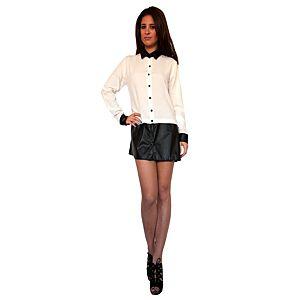 Karahasan's Siyah Etekli Beyaz Gömlek