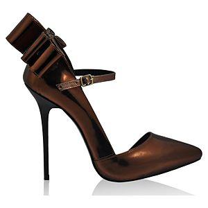 LeSille Bakır Ayna Arkası Fiyonklu Düşük Dekolteli İç Açık Ayakkabı