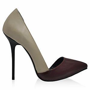 LeSille Bej Deri & Bordo Rugan Düşük Dekolteli İç Açık Ayakkabı
