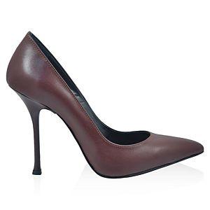 LeSille Bordo Deri Stiletto Ayakkabı
