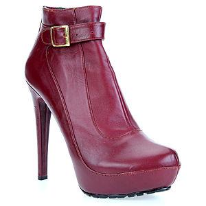 LeSille Bordo Deri Yandan Tokalı Arkadan Fermuarlı Ayakkabı