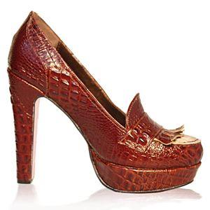 LeSille Bordo Krokodil Önü Püsküllü Loafer Ayakkabı