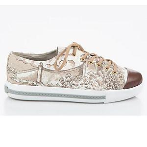 LeSille Çiçek Desen Kumaşlı Önü Maskeretli Sneaker Ayakkabı