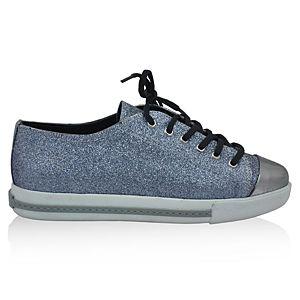 LeSille Gümüş Simli Lame Deri Önü Maskeretli Sneaker Ayakkabı