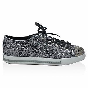 LeSille Gümüş Simli Önü Demir Maskeretli Sneaker Ayakkabı