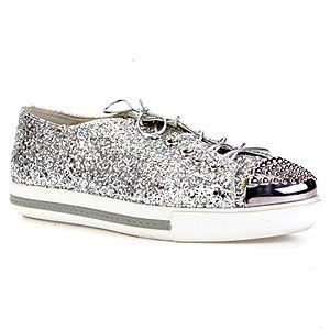 LeSille Gümüş Simli Önü Gümüş Droglu Maskeretli Sneaker Ayakkabı