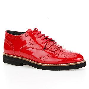 LeSille Kırmızı Rugan Zımbalı Bağcıklı Püsküllü Köpük Taban Oxford Ayakkabı