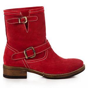 LeSille Kırmızı Süet Çift Tokalı Saraçlı Bot