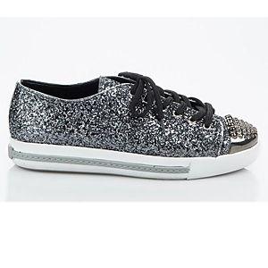 LeSille Mat Gümüş Simli Mat Gümüş Burun Droglu Maskeretli Sneaker Ayakkabı